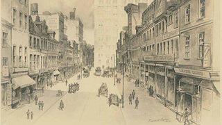 A sketch of Sansom Street in 1914 shows how busy this commercial street was. That hasn't changed.