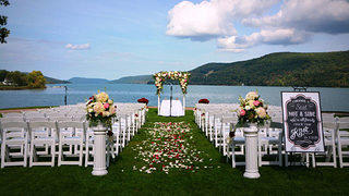 Shimmering Otsego Lake is one of many views The Otesaga Hotel offers weddings guests.