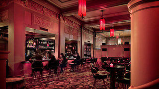 The theater's projection room and historic patron's lounge have been converted to a bar, open to the public.