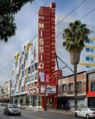 The New Mission Theater is one of many constructed during the turn of the 20th century in San Francisco's theater district.