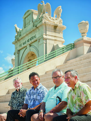 Friends of the Natatorium members Jim Anderson, Frank Weight, Sonny Tanabe, and Mo Radke