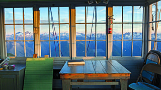 A mountain view from inside a lookout. Credit: Ethan Welty