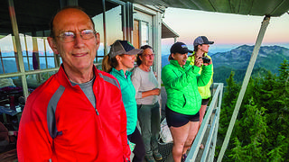 Ethan Welty's family smiles for the camera at a lookout. Credit: Ethan Welty