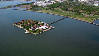 Aerial view of Ellis Island National Monument.