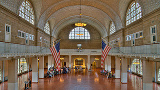 Ellis Island National Monument's main hall.