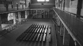 Photo of Ellis Island's main hall circa 1980.