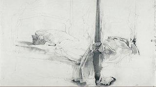 "Andrew Wyeth's ""The Bed, Study for Chambered Nautilus,"" 1956. Pencil on paper."