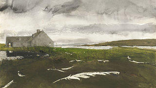 "Andrew Wyeth's ""Airborne Study,"" 1996. Watercolor on paper."