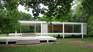 An exterior shot of the Farnsworth House.