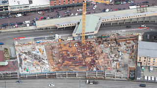 Aerial shot of the MarketFront site under construction