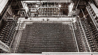 The front face of B Reactor at the Hanford Nuclear Reservation in Washington State.