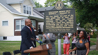Historic marker at the Muhammad Ali Childhood Home in Louisville, Kentucky