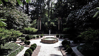A fountain is the centerpiece for the Swan House's gardens.