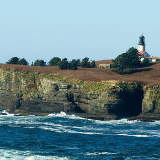 Cape Flattery Lighthouse, located on Tatoosh Island in Washington State.