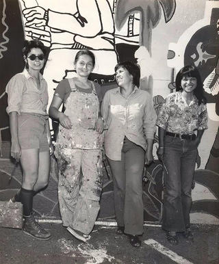 Left to right: Las Mujeres Muralistas founders Graciela Carrillo, Consuelo Mendez, Patricia Rodriguez, and Irene Perez.