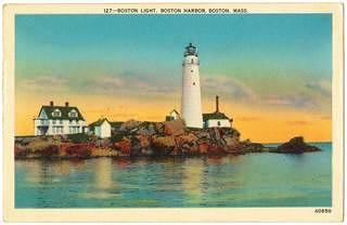 A vintage postcard showing Boston Light.