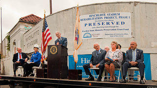 "From left to right: David J. Brown (Executive Vice President, National Trust for Historic Preservation), Katherine Ng (WU & Associates), Gianfranco Archimede (Director of Paterson Historic Preservation Commission), U.S. Congressman Bill Pascrell (New Jersey 9th District), Eileen Shafter (Acting Superintendent of Paterson Public Schools), Paterson Mayor Jose ""Joey"" Torres."