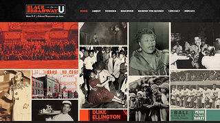 Website homepage for Black Broadway on U: A Transmedia Project.