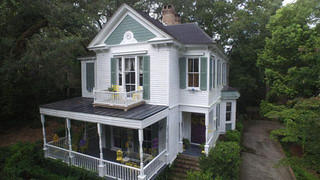 An aerial shot of a South Carolina Victorian's exterior.