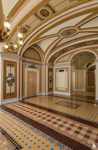 The senate reception area is bright and back to its original color scheme. Credit: Architect of the Capitol