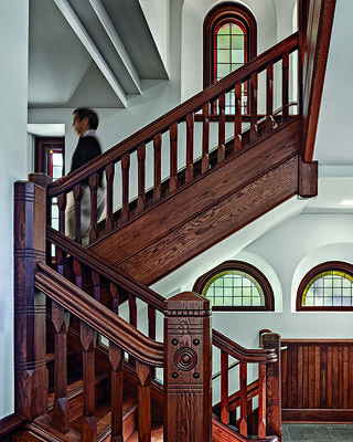 A restored staircase in the Old Chapel at the University of Massachusetts-Amherst.