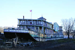 The Goldenrod Showboat docked in Kampsville, Illinois.