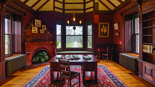 The second-floor library of the Eustis Estate.