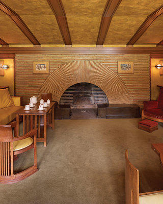 The large fireplace in the reception room is made of Roman brick. Credit: Biff Henrich/Martin House Restoration Corp