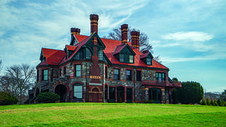 The exterior of Eustis Estate in Milton, Massachusetts.