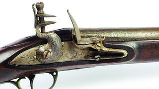 The lock and trigger of the Palmer musket at Cliveden.