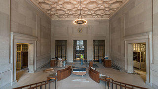 The interior of the Freer entrance has an ornate plaster ceiling. Credit: Freer Gallery of Art