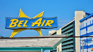 The Bel Air Motel's neon sign as seen by day.
