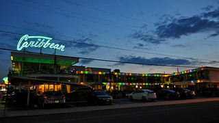 The Caribbean Motel at night.