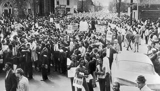 """I Am A Man"" 1968 March in front of Clayborn Temple, Memphis Tennessee"