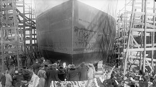 Historic photo of ship under construction before being scuttled in Mallows Bay