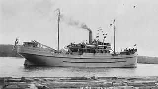 Historic photo of a ship now sunk in Mallows Bay