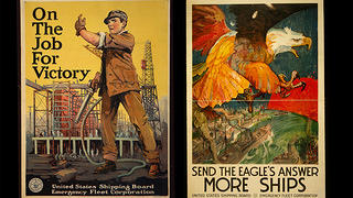WWI-era posters for the United States Shipping Board Emergency Fleet Corporation