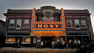 The marquee of the Roxy Theatre.