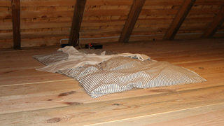 Recreation of a loft with sleeping mat in Montpelier.