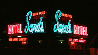 A double exposure shot of Sands Motel.