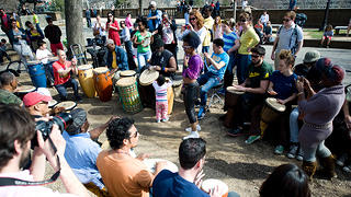 Drum circle at Meridian Hill Park in Washington, DC