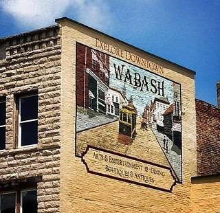 A mural of Wabash on the side of a building.