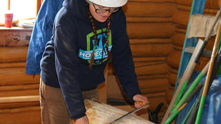 Kaleigh Choi works on construction at the Jenny Lake Visitor Center in Grand Teton National Park.