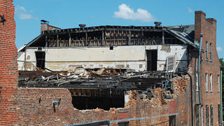 The collapsed roof of the Taylor Hotel.