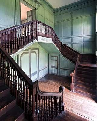 Drayton Hall's 27-foot-high stair hall, carved from mahogany.