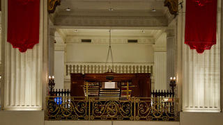 Closeup of the Wanamaker Organ and console.