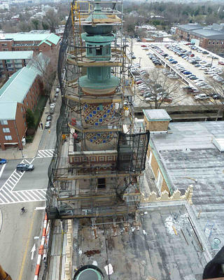 Renovation process for Altria Theater's minarets.