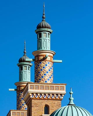 Altria Theater's minarets after the renovation.
