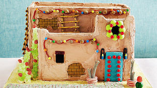 Pueblo Revival house in gingerbread.