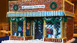 Killough's Music in North Carolina in gingerbread by Kelsey Sewell.